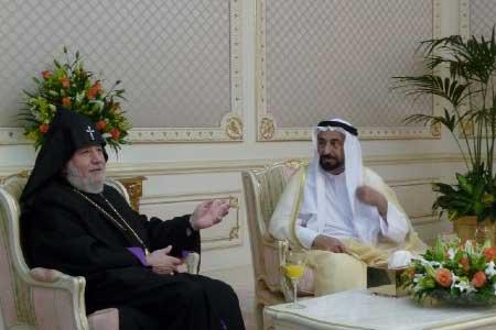Karekin II und Sheikh Sultan bin Mohammad al Qasimi