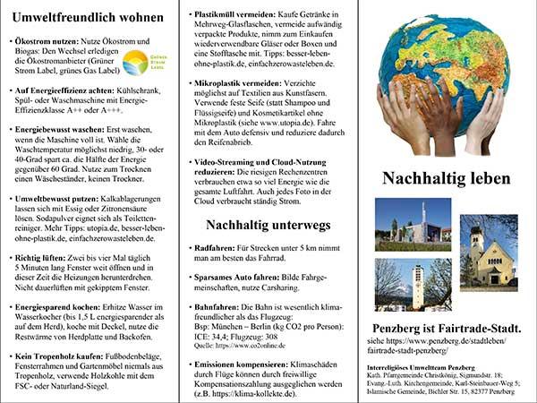 "Interreligiöses Umweltteam Penzberg: Flyer ""Nachhaltig leben"""