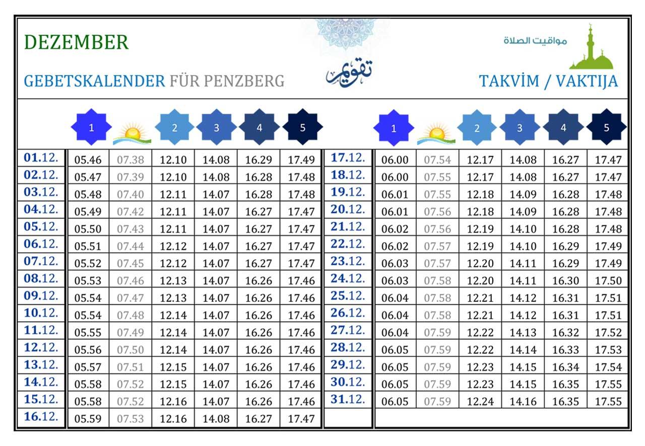 Gebetskalender Penzberg Dezember