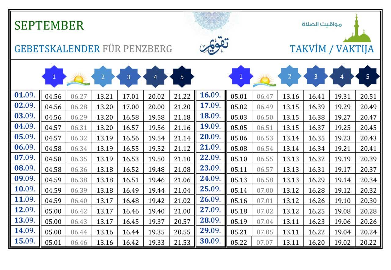 Gebetskalender Penzberg September
